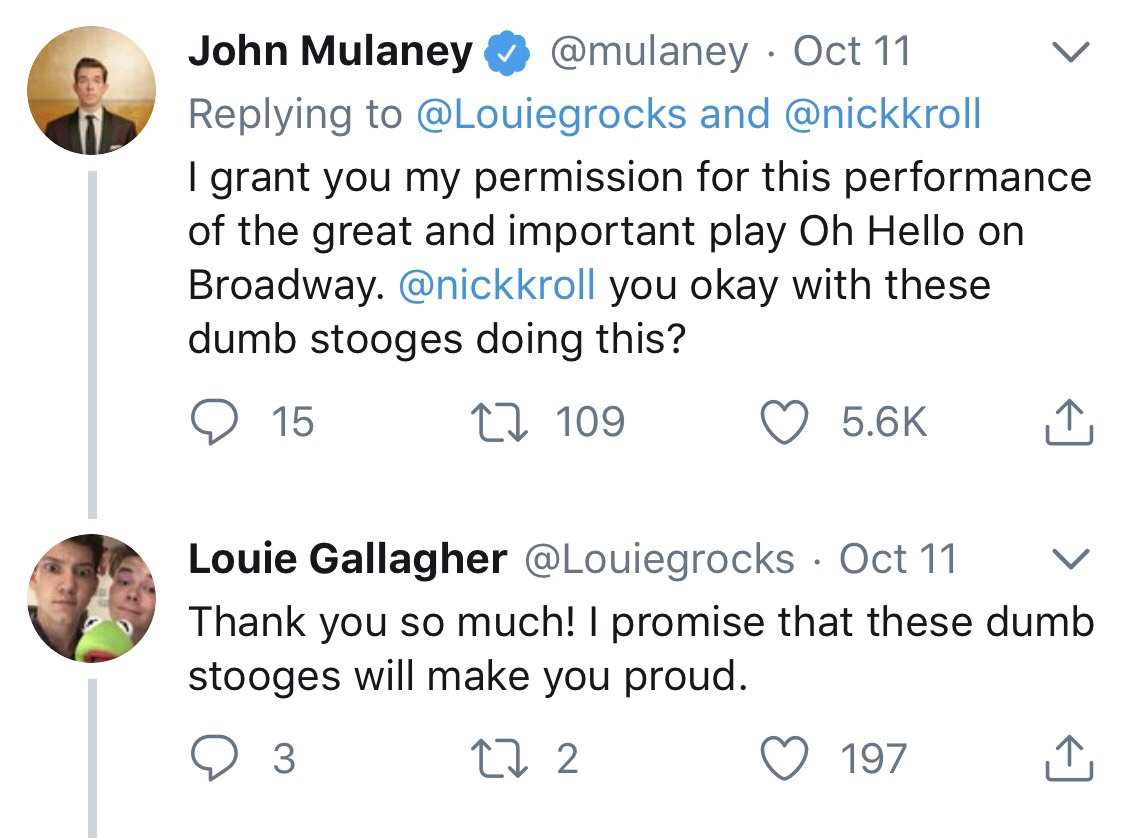 The Actual Twitter Interaction between Mr. Mulaney and Louie Gallagher