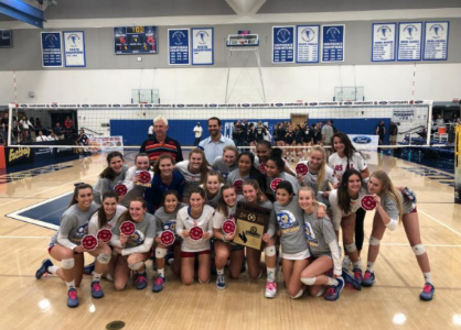 The girls' volleyball team is happy after becoming CIF Champions, and excited to progress to state competitions.