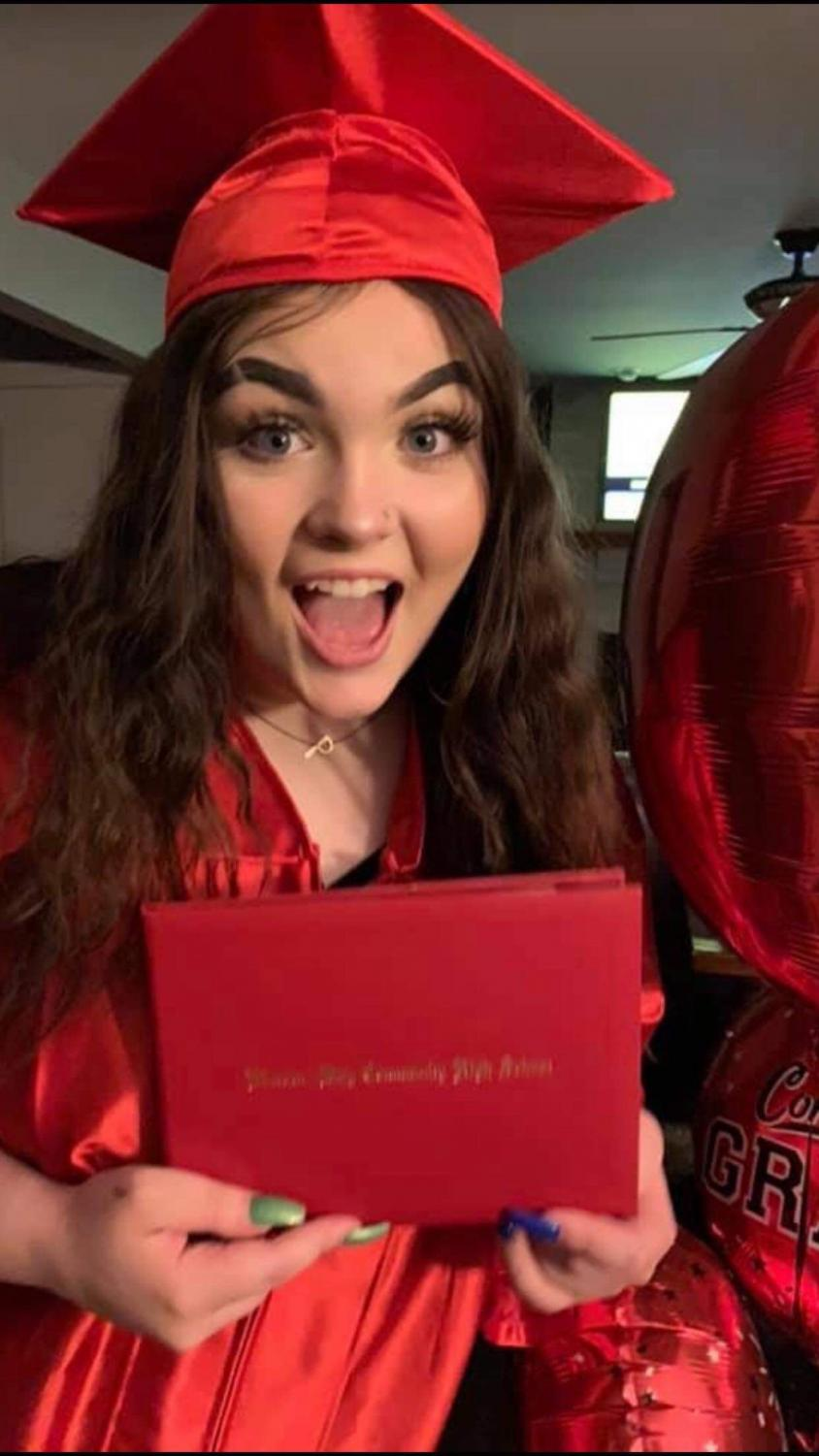High school graduate close call to death after she develops Lung Impairment/ disease from vaping. Now recovering well with the aid of a portable ventilator, she is determined to advocate the dangers of vaping to the next generation. (Pictures Piper Johnson's)