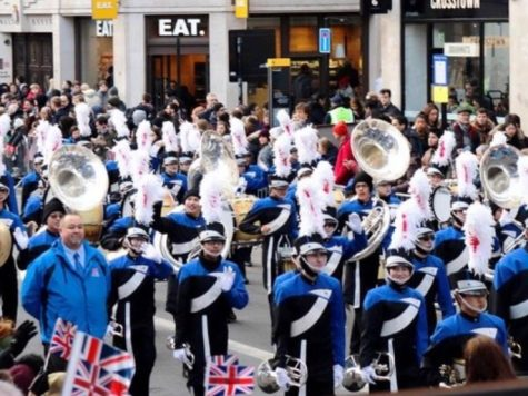 The Los Alamitos Marching Band performing in the New Year's Day parade in London, England. (Photo credit losalmusic.com)