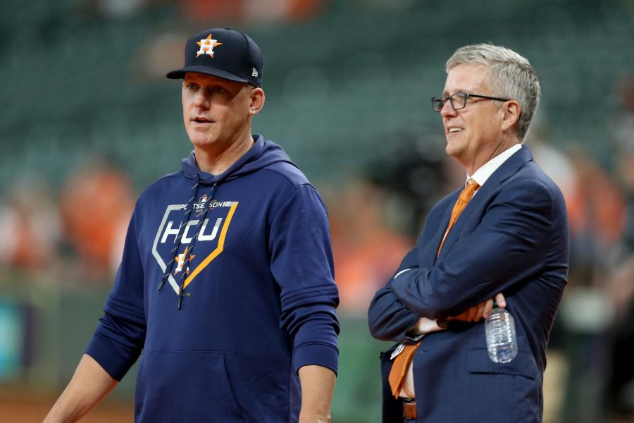 A.J. Hinch (left), and Jeff Luhnow (right) were suspended and fired after be blamed for the Astros cheating in their 2017 season.